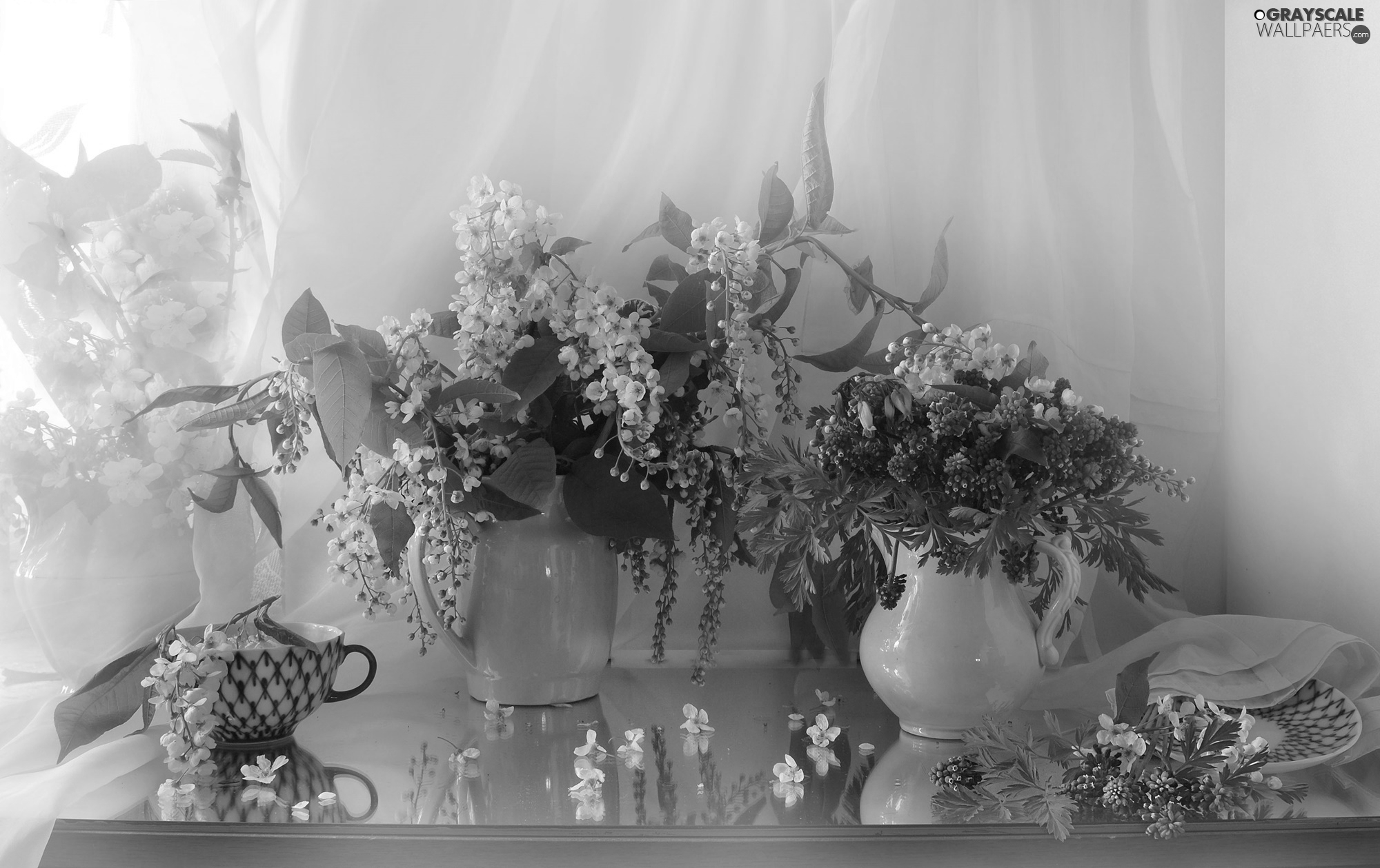 Muscari, bouquet, cup, Bird Cherry, Flowers, jug, composition