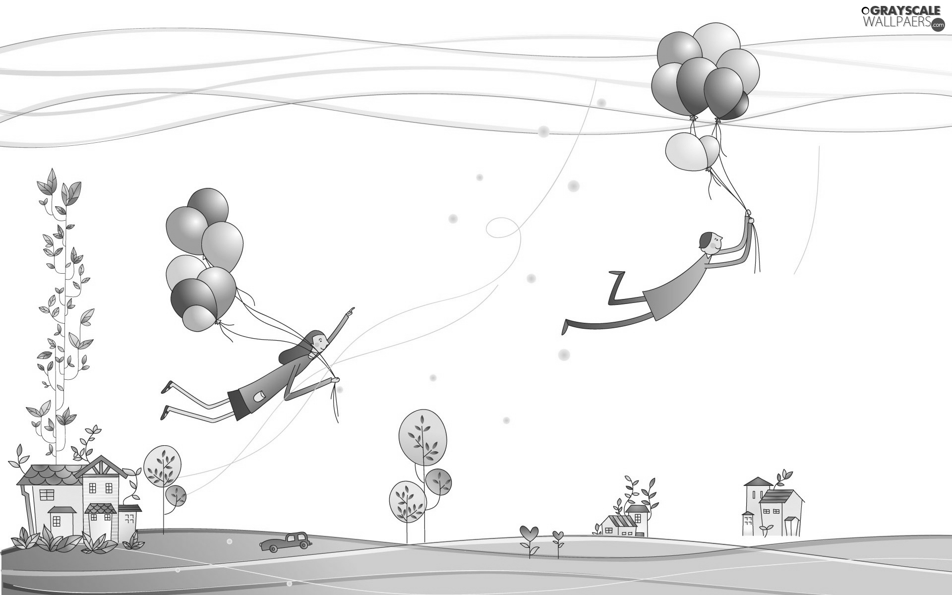 flight, Drawing, lovers, Balloons, Steam