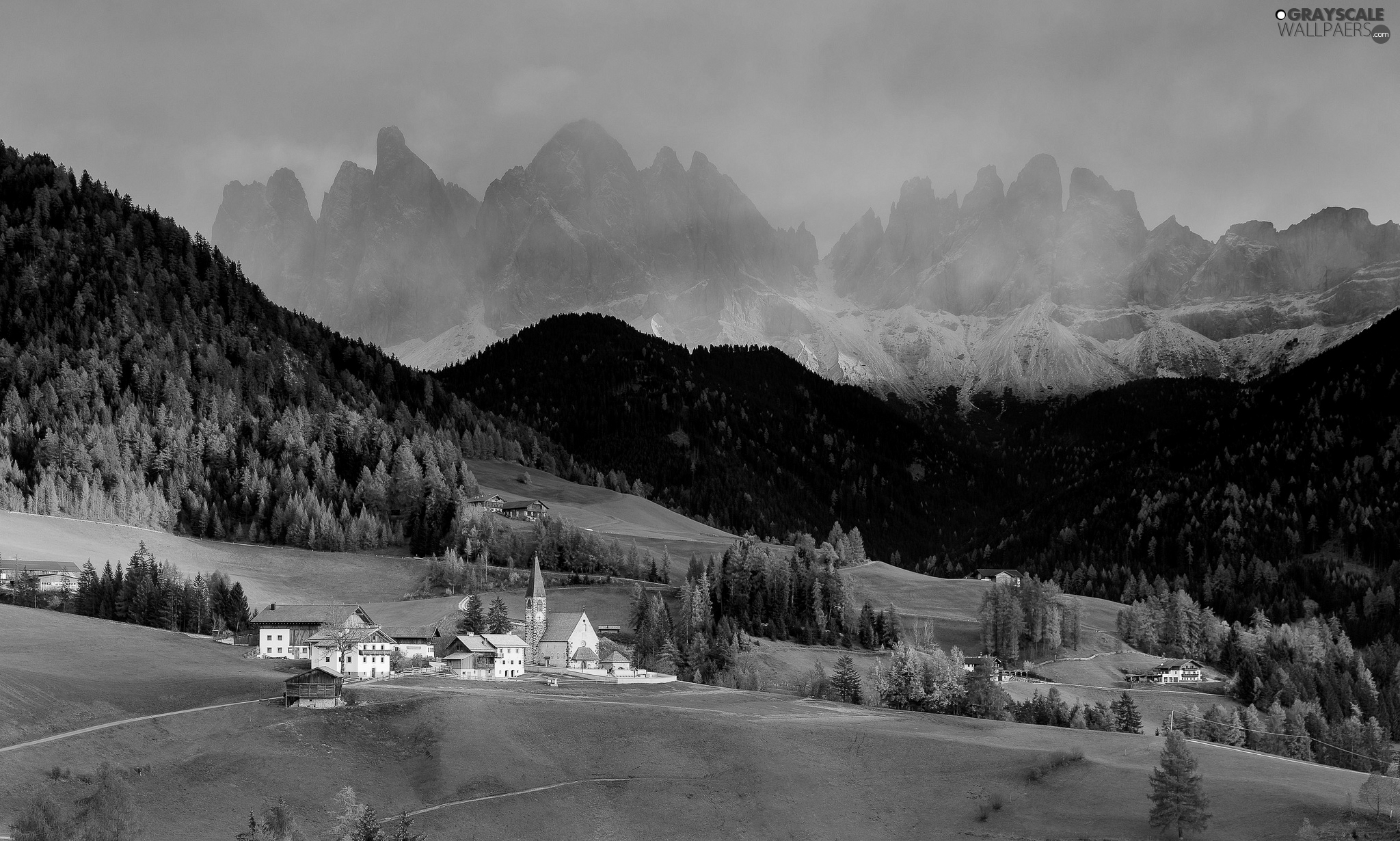 Houses, viewes, Church, Dolomites, Mountains, Fog, trees, Italy, clouds, woods, Val di Funes Valley, Village of Santa Maddalena