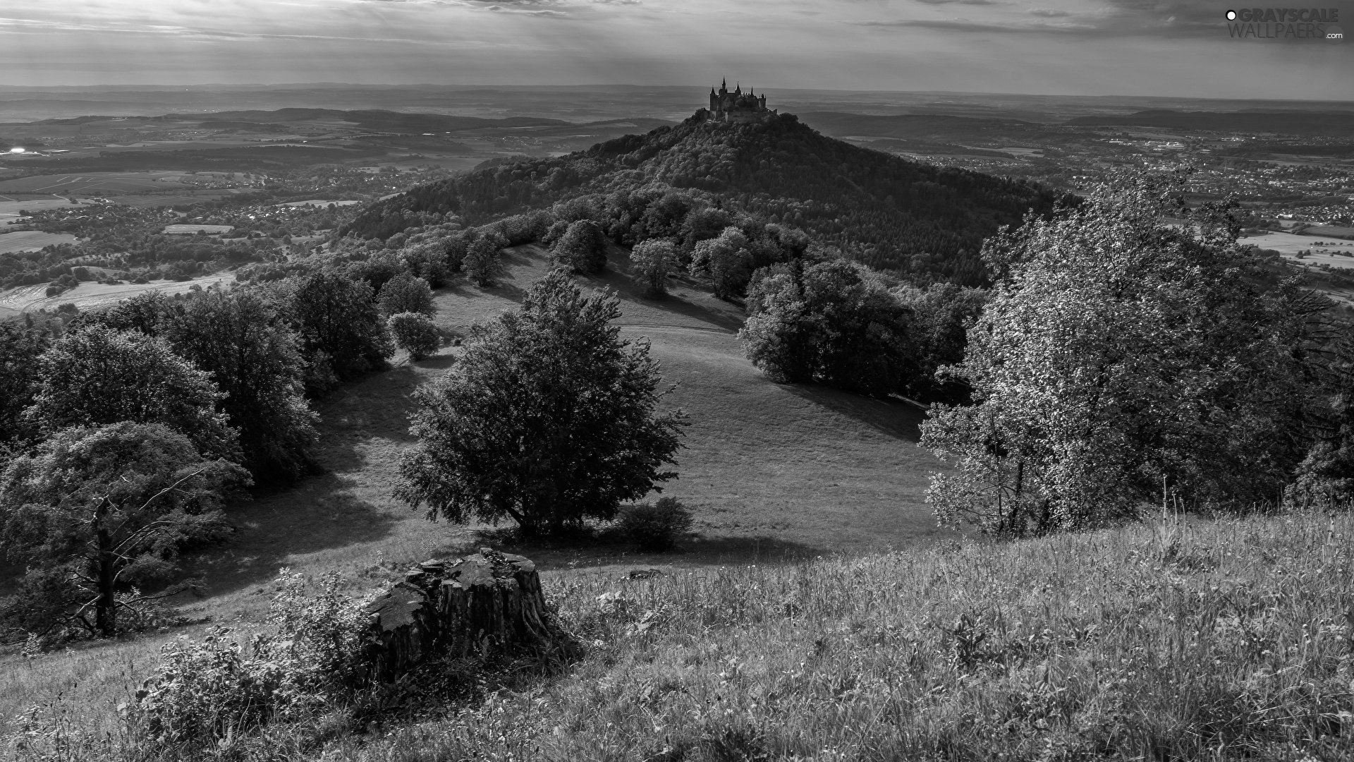 trees, viewes, Germany, clouds, Baden-W?rttemberg, Hohenzollern Castle, Hohenzollern Mountain, Hill
