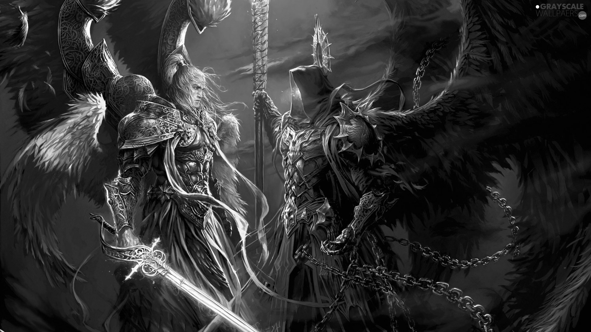 Grayscale Might And Magic Heroes VI, Archangel Michael - 1920x1080