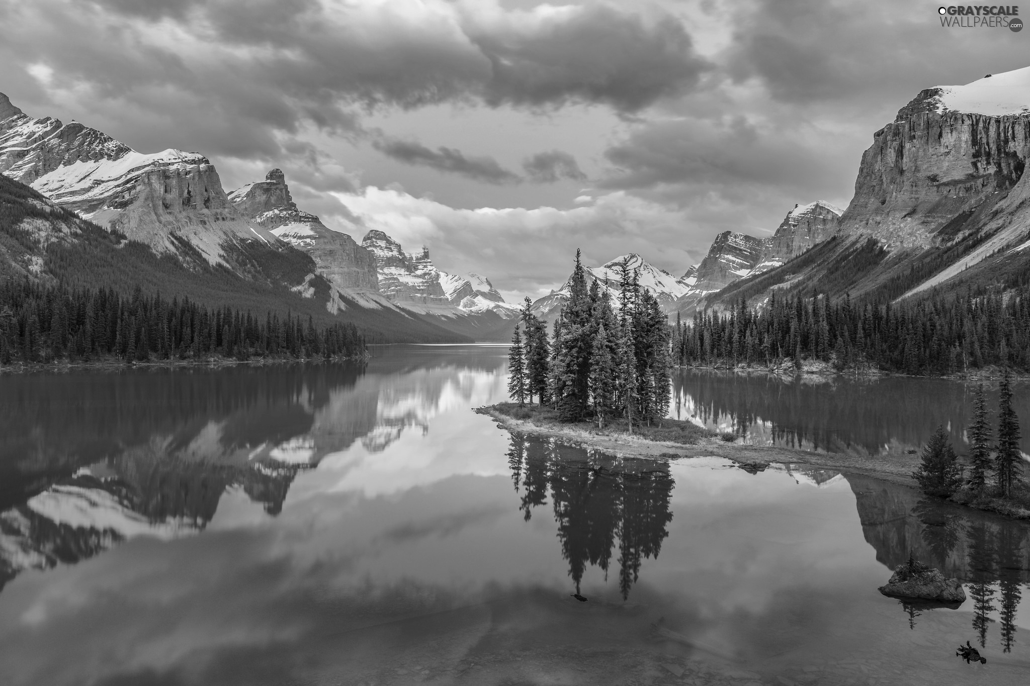 Maligne Lake, trees, Canada, viewes, Alberta, Mountains, Jasper National Park, clouds