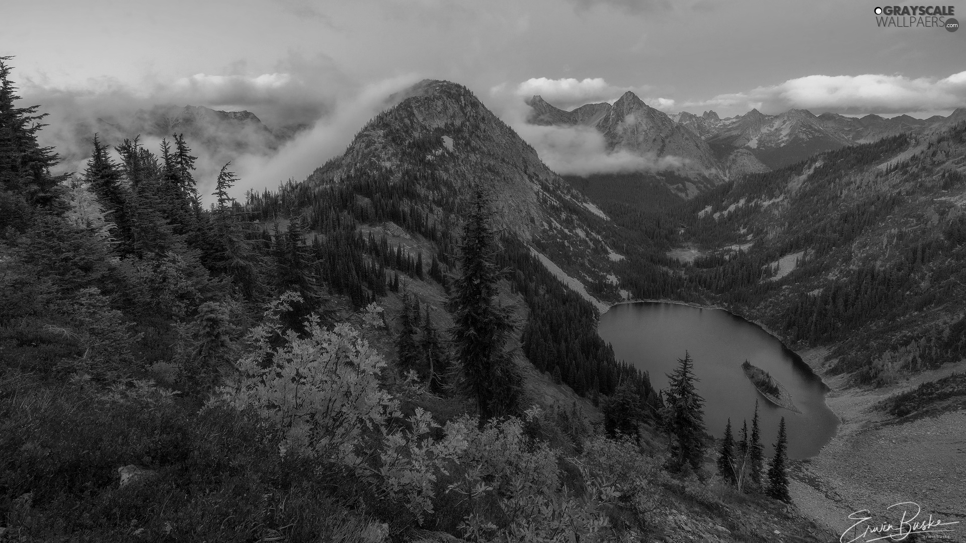 Mountains, North Cascades National Park, lake, trees, Washington State, The United States, color, Bush, viewes