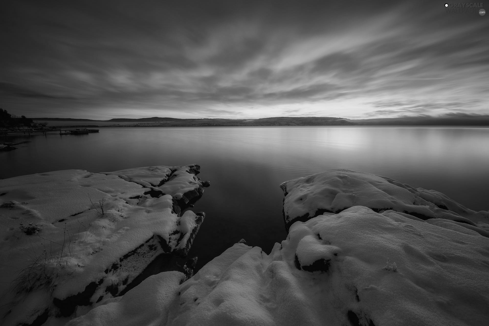 winter, Lake Tyrifjorden, clouds, Stones, Norway, snow, Great Sunsets